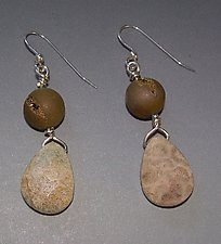 Gold Druzy & Petrified Coral Earringss by Diana Lovett (Silver & Stone Earrings)