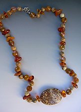 Amber, Jaspers & Quartz Necklace by Diana Lovett (Beaded Necklace)