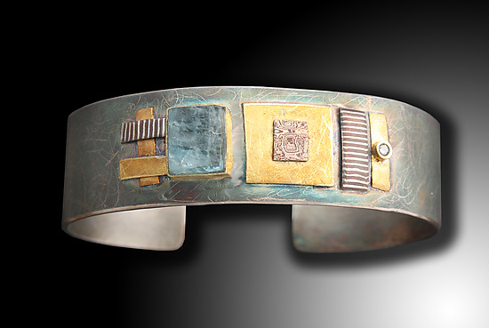 Shield Cuff with Rough Cut Aqua and Diamond