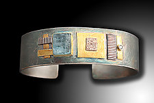 Shield Cuff with Rough Cut Aqua and Diamond by Lynda Bahr (Gold, Silver, & Stone Bracelet)