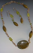 Jasper, Peridot, Jade & Peruvian Opal Necklace set by Diana Lovett (Beaded Jewelry)