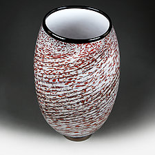 Zymova Vyshnya (Winter Cherries) Prototype Flat-sided Vase by Eric Bladholm (Art Glass Vessel)