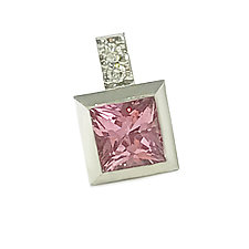 S17 Pendant in Platinum with Pink Sapphire and Diamonds by Catherine Iskiw (Platinum & Stone Pendant)