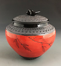 Double Bird Jar in Poppy Red by Suzanne Crane (Ceramic Jar)