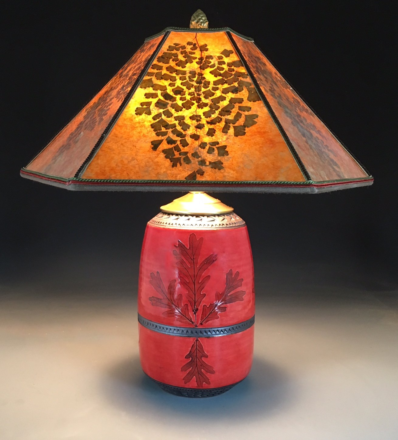 Red Oak Mission Lamp With Amber Mica Shade By Suzanne