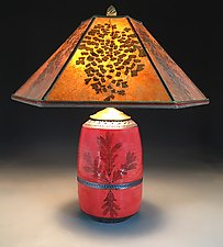 Red Oak Mission Lamp with Amber Mica Shade by Suzanne Crane (Ceramic Table Lamp)