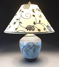 Cornflower Blue Lamp with Embroidered Shade by Suzanne Crane (Ceramic Table Lamp)