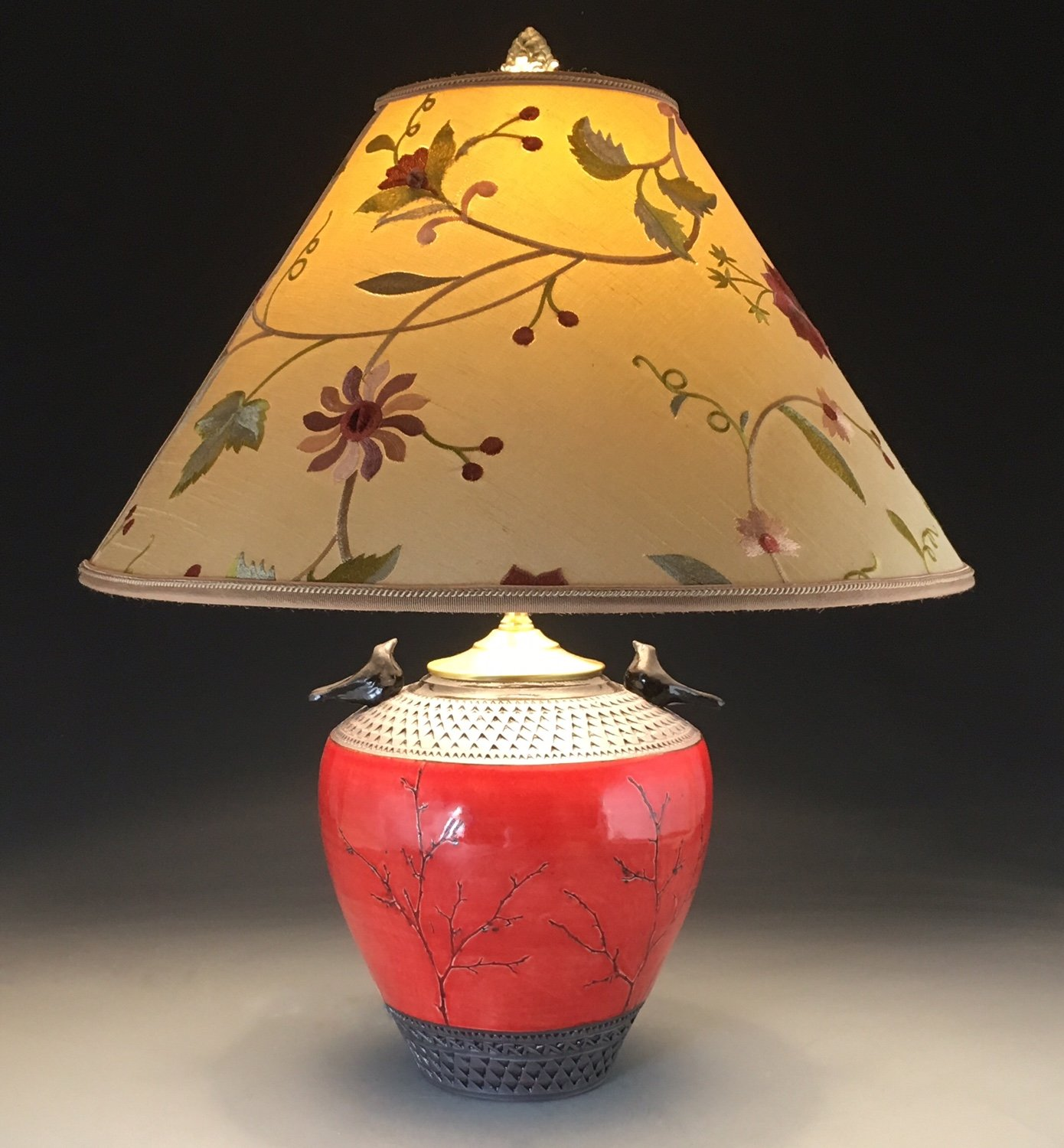 Red Bird Lamp With Embroidered Shade By Suzanne Crane