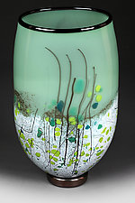 Wintergreen Wisteria Flat-sided Vase Prototype by Eric Bladholm (Art Glass Vase)