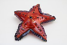 Red tropics Sea star by Benjamin Silver (Art Glass Sculpture)
