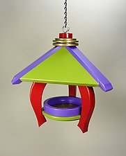 Pavilion Feeder with Red Legs by A. Andrew Chulyk (Wood Bird Feeder)