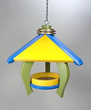 Pavilion Feeder with Green Legs by A. Andrew Chulyk (Wood Bird Feeder)