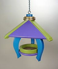 Pavilion Feeder with Blue Legs by A. Andrew Chulyk (Wood Bird Feeder)