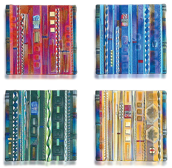 Wall panel color series set by mark ditzler art glass for Coloured glass panels