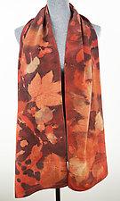 Red Madder Pattern Stonewashed Silk Crepe de Chine Scarf by Ayn Hanna (Silk Scarf)