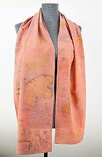 Pink Peony Pattern Stonewashed Silk Crepe de Chine Scarf by Ayn Hanna (Silk Scarf)