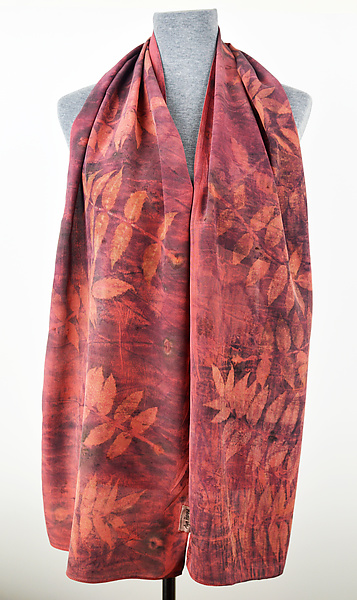 Red Madder Sumac Stonewashed Silk Crepe de Chine Scarf