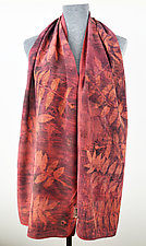 Red Madder Sumac Stonewashed Silk Crepe de Chine Scarf by Ayn Hanna (Silk Scarf)