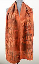 Botanical Blaze Stonewashed Silk Crepe de Chine Scarf by Ayn Hanna (Silk Scarf)
