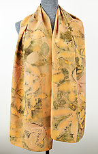 Warm Afternoon Stonewashed Silk Crepe de Chine Scarf by Ayn Hanna (Silk Scarf)