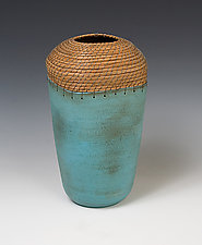Square Vessel in Turquoise by Hannie Goldgewicht (Ceramic Vessel)