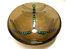 Dragonfly Vessel Sink on Bronze Glass by Mark Ditzler (Art Glass Sink)