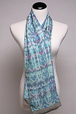 Blue Waves 2-Sided Scarf by Suzanne Bates  (Silk Scarf)