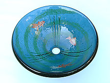 Goldfish Vessel Sink on Steel Blue Glass by Mark Ditzler (Art Glass Sink)
