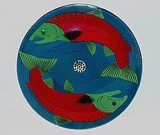 Red Sockeye Salmon Sink by Mark Ditzler (Art Glass Sink)