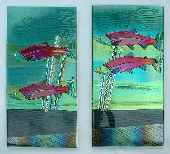 Sockeye salmon wall panels by mark ditzler art glass wall for Large glass wall