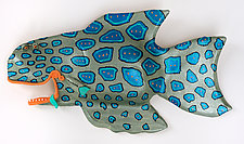 Blue-Spotted Perch by Byron Williamson (Ceramic Wall Sculpture)