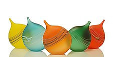 Tipped Bottles: Warm Tones by David Royce (Art Glass Bottle)