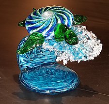 Surfing Turtle by The Glass Forge (Art Glass Sculpture)