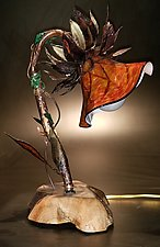 Burnt Umber Flower Lamp by The Glass Forge (Art Glass Table Lamp)