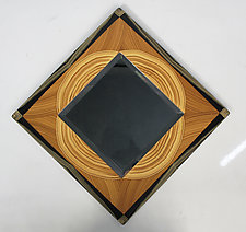 Painted Wood Beveled Mirror by Ingela Noren and Daniel  Grant (Wood Mirror)