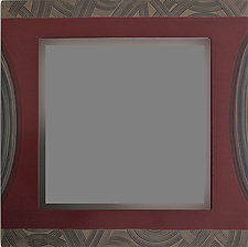 Square Maroon Mirror by Ingela Noren and Daniel  Grant (Wood Mirror)