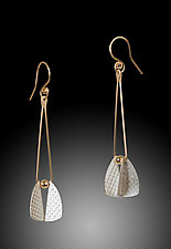 Flying Triangle Earrings by Carolyn Zakarija (Gold & Silver Earrings)