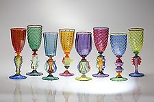 Tutti Frutti Optic Spot Goblet by Robert Dane (Art Glass Goblet)