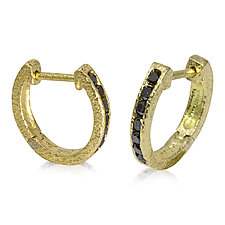 18k Gold Hinged Hoop Earrings with Black Diamonds by Rona Fisher (Gold & Stone Earrings)