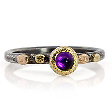 Textured Pebbles Round Amethyst Ring by Rona Fisher (Gold, Silver & Stone Ring)