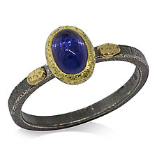 Textured Pebbles Oval Iolite Ring by Rona Fisher (Gold, Silver & Stone Ring)