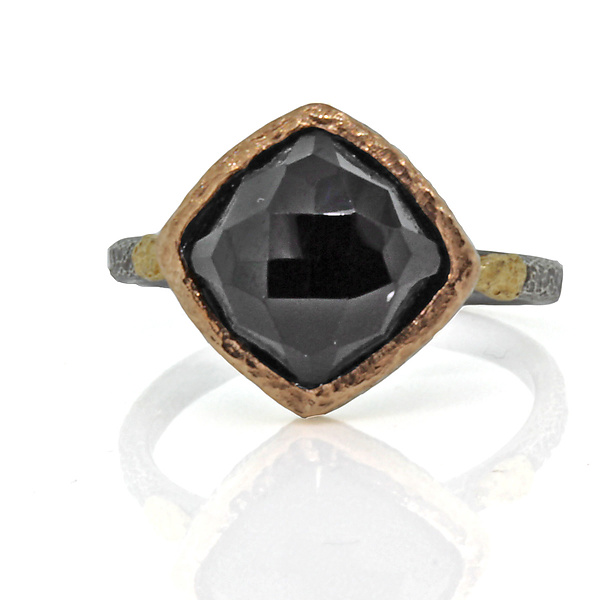 Textured Pebbles Black Spinel Ring