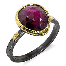 Textured Pebbles Rhodolite Ring by Rona Fisher (Gold, Silver & Stone Ring)