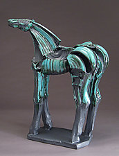Long-Legged Turquoise Horse, Tribute Series by Jeri Hollister (Ceramic Sculpture)