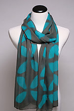 Floral Shibori Silk Scarf in Turquoise by Suzanne Bates  (Silk Scarf)