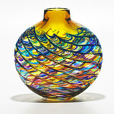 Optic Rib Flat Vase in Lime Mix with Topaz by Michael Trimpol and Monique LaJeunesse (Art Glass Vase)