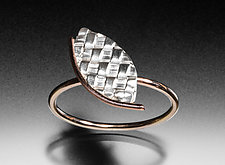 Angled Woven Leaf Ring by Linda Bernasconi (Gold & Silver Ring)