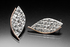 Woven Leaf Post Earrings by Linda Bernasconi (Gold & Silver Earrings)
