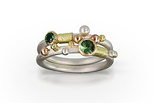 Green Twig Rings by Christine Mackellar (Gold, Silver & Stone Ring)