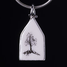 Small Single Tree Porcelain Pendant by Diana Eldreth (Ceramic Necklace)